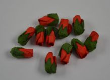50 RED Mulberry Paper Rose Buds (L) (only flower head)